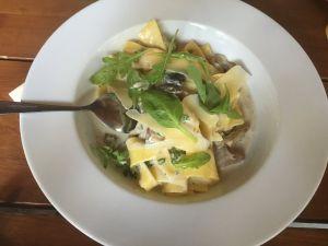 Těstoviny s liškovým ragú a sýrovou omáčkou v restauraci Na tý louce zelený.