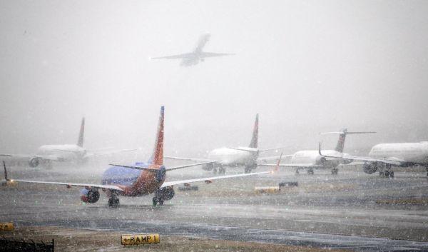 Atlanta, letiště, sníh, USA