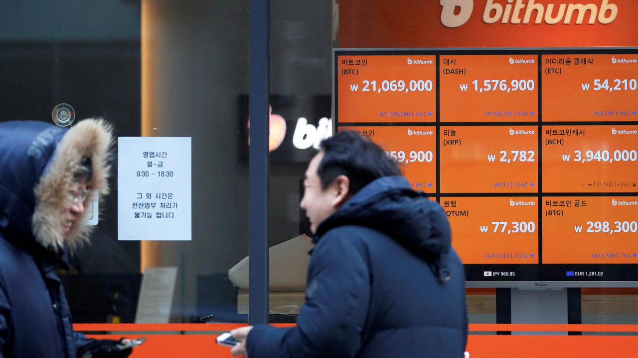 Spekulace ovývoji cen kryptoměn, jako je třeba bitcoin, je vJižní Koreji velmi populární.