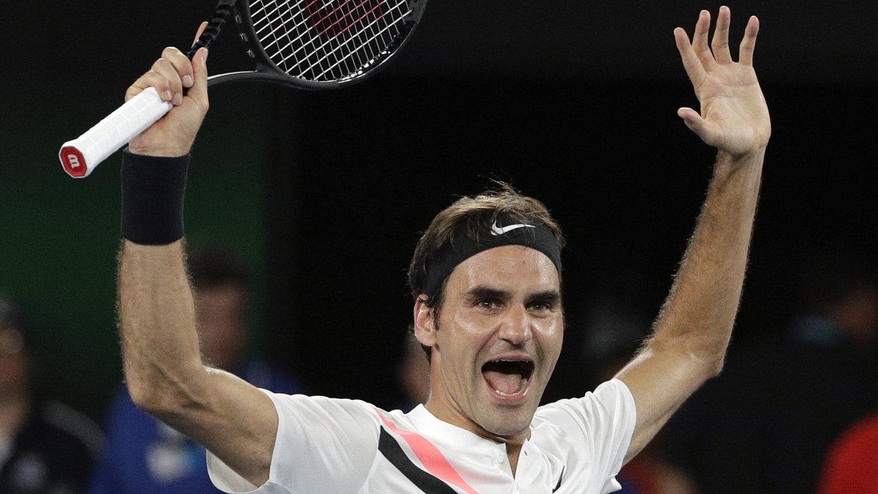 Tenista Roger Federer po lednovém vítězství na Australian Open.