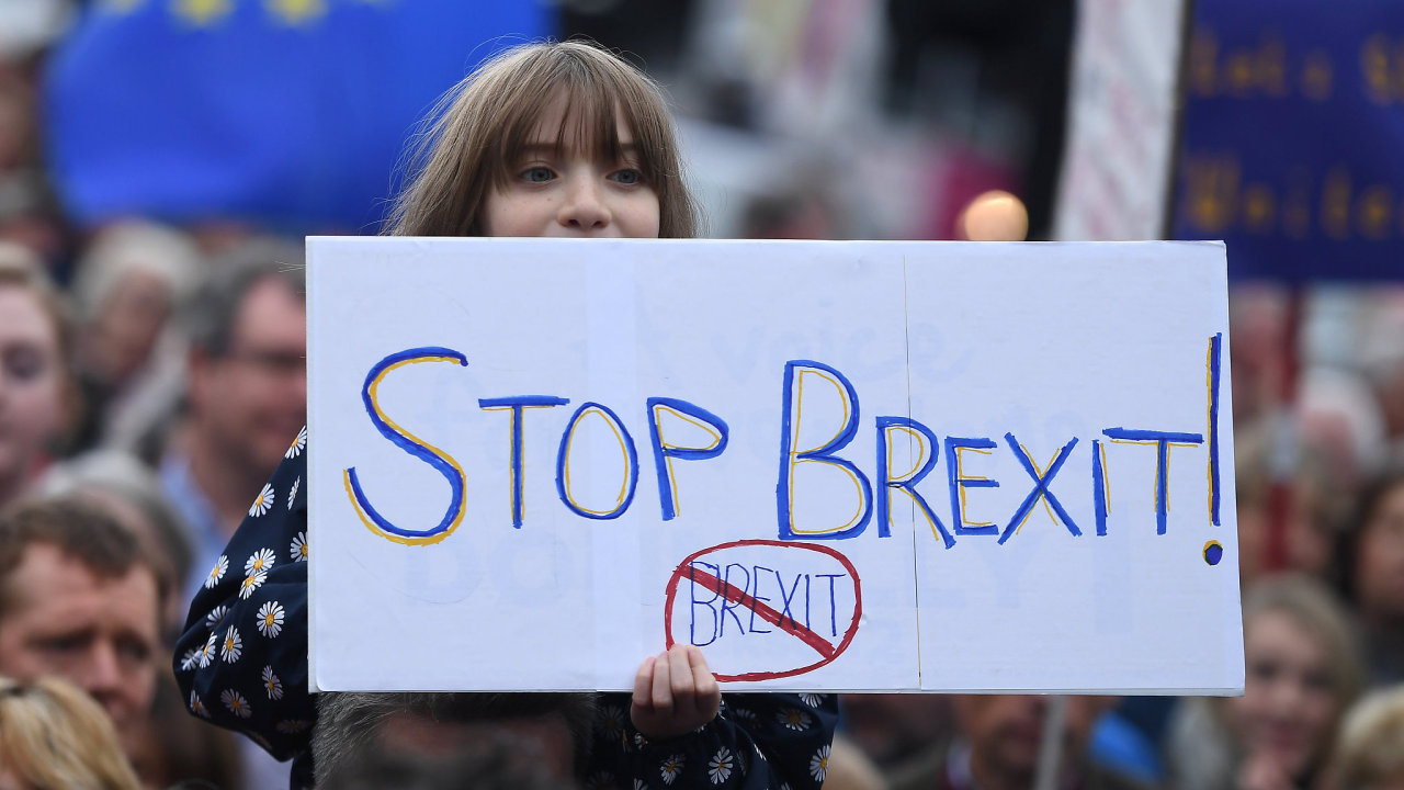 Jedna z demonstrantek proti brexitu.
