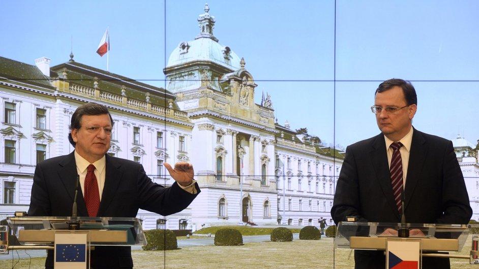 Petr Nečas a předseda Evropské komise José Manuel Barroso