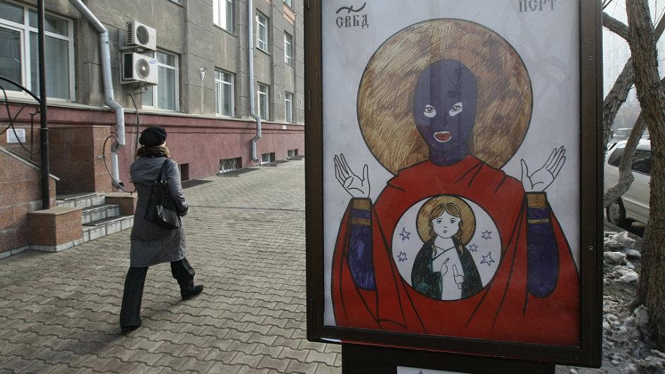 Loskutovův obraz Bohorodičky v kukle na billboardech