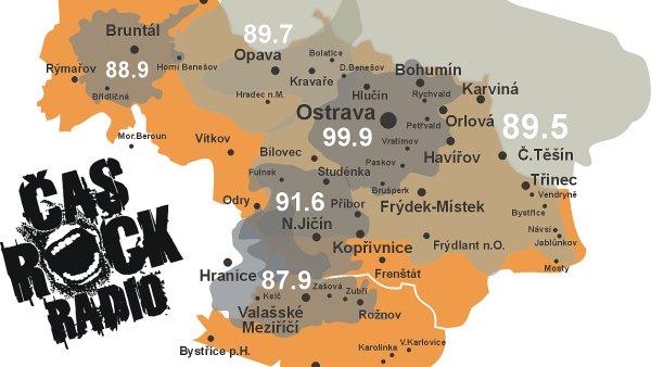 Aktuální mapa pokrytí Radia Čas Rock