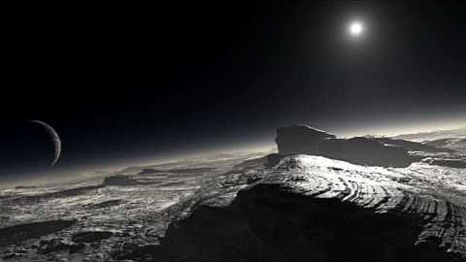 Slunce a Cháron na nebi na Plutu