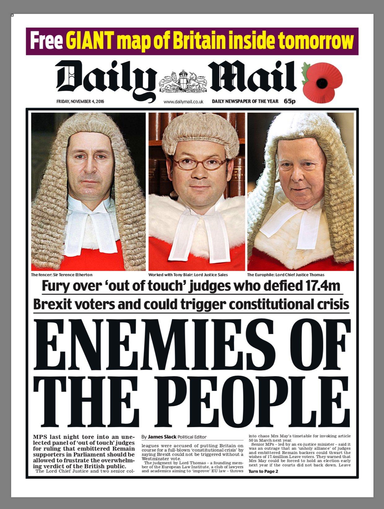 Daily Mail o soudcích, kteří posuzovali podmínky Brexitu