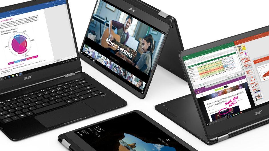 Acer Spin 7 je tenčí varianta konceptu Yoga, notebook se během sekundy promění i v tablet