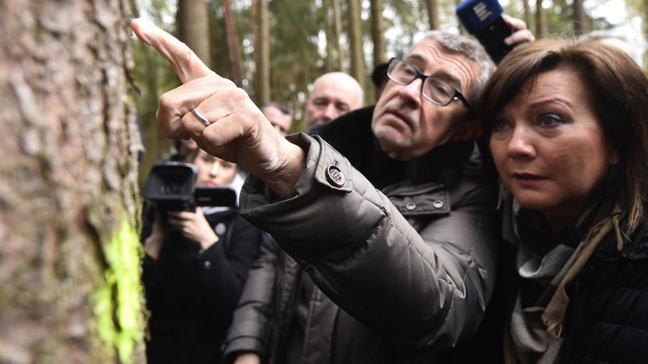 Andrej Babiš ukazuje Aleně Schillerové kůrovce.