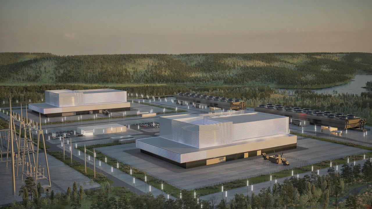 Vizualizace dvou reaktorů BWRX-300, tedy takto by mohla vypadat první estonská jaderná elektrárna podle firmy Fermi Energia.
