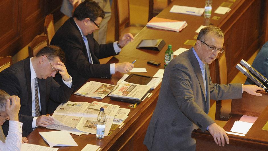 Ministr financí Miroslav Kalousek ve sněmovně při projednávání státního rozpočtu.