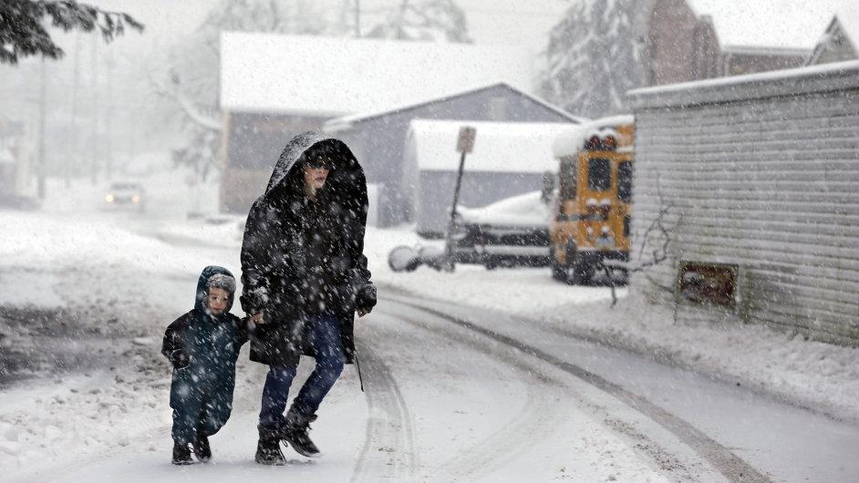 Sněhová bouře, která zasáhla jih Spojených států