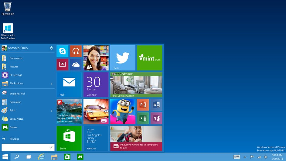 Nabídka start v preview verzi Windows 10