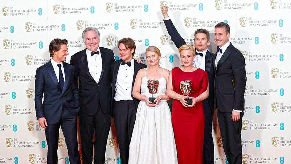 Štáb filmu Chlapectví na předávání cen BAFTA.