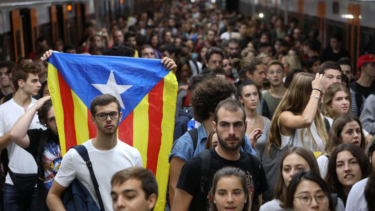 španělsko, katalánsko, demonstrace, stávka