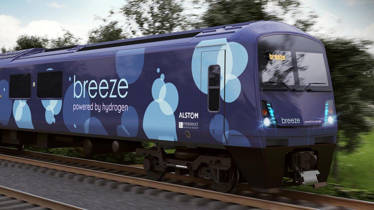 Britský vlak na vodík: Design vlaku představil výrobce Alstom ve spolupráci se společností Eversholt Rail, která vlaky pronajímá dopravcům.