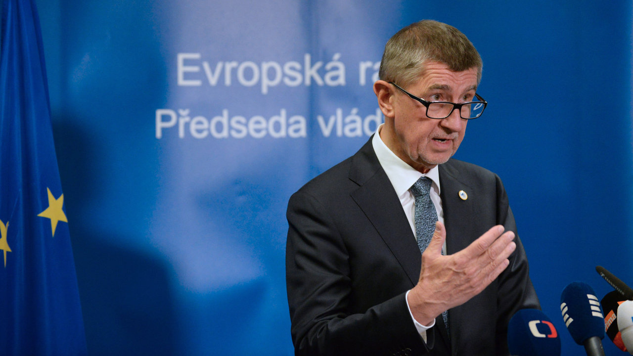 Český premiér Andrej Babiš vystoupil 22. března 2019 v Bruselu na tiskové konferenci po jednání summitu EU.