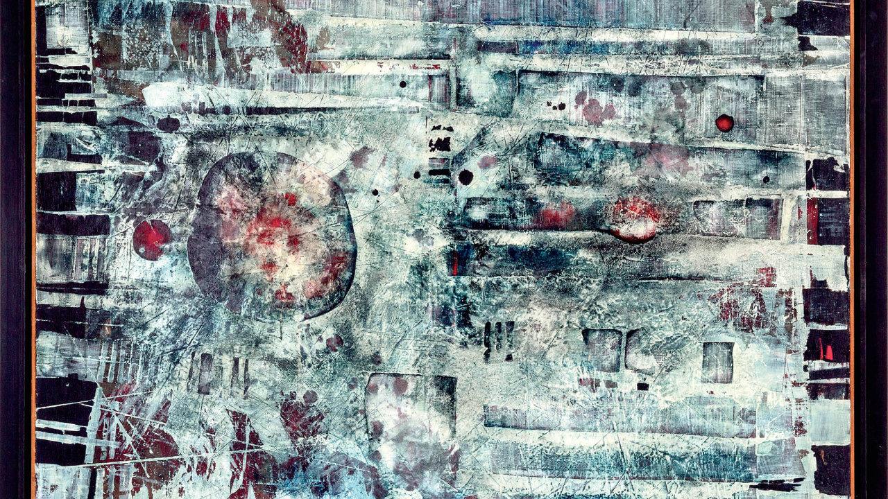 Medek Mikuláš: Padající staré flétny, olej, plátno 104 × 134,5 centimetru, 1960