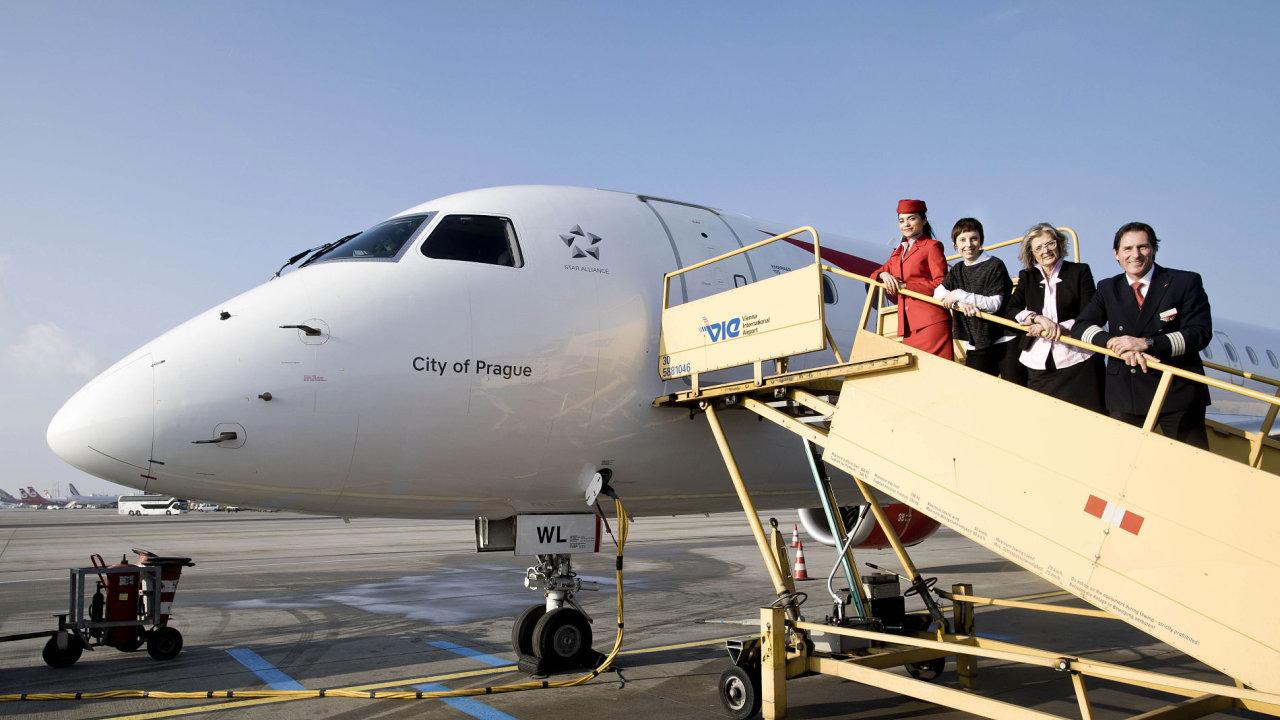 Letoun Embraer společnosti Austrian Airlines pokřtěný City of Prague.