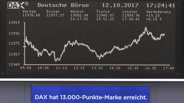 Německý akciový index DAX ve čtvrtek poprvé překonal hranici 13 tisíc bodů.