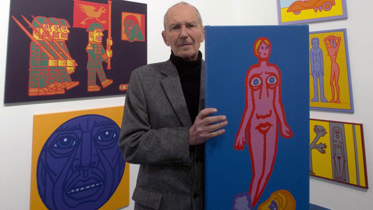 Malíř Pavel Brázda svým dílem promýšlel, jak učinit umění dostupným všem lidem. Zde zachycen na výstavě Lidská komedie z roku 2011.
