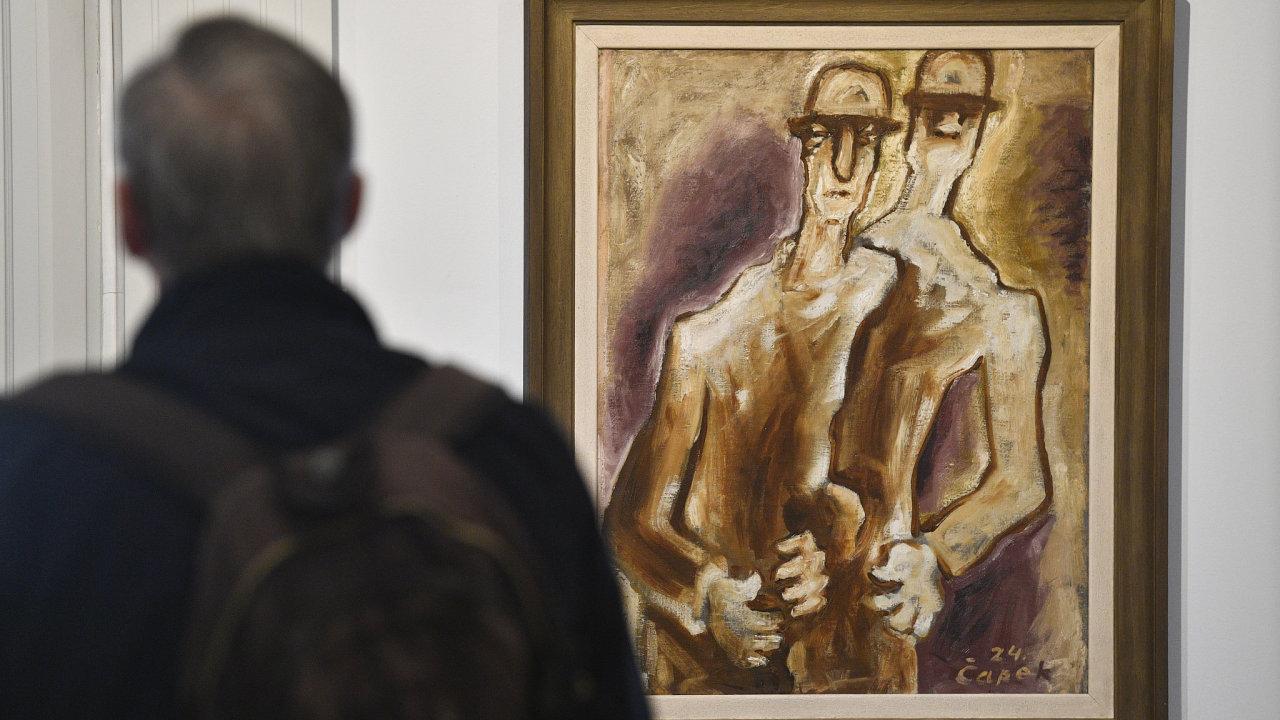 Obraz Josefa Čapka nazvaný Dva chlapi se vydražil v aukci Galerie Kodl na pražském Žofíně za 13,9 milionu korun.