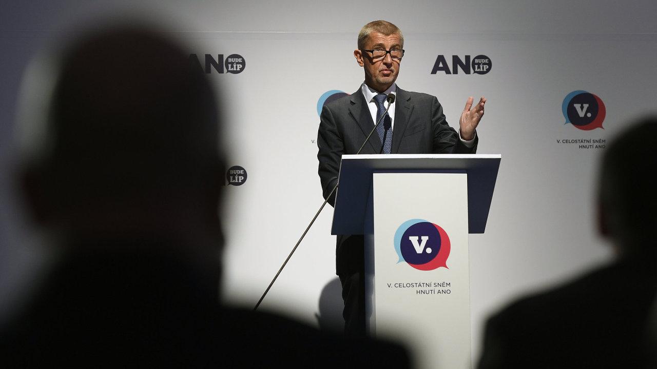 Andrej Babiš na sněmu hnutí ANO v únoru 2019.