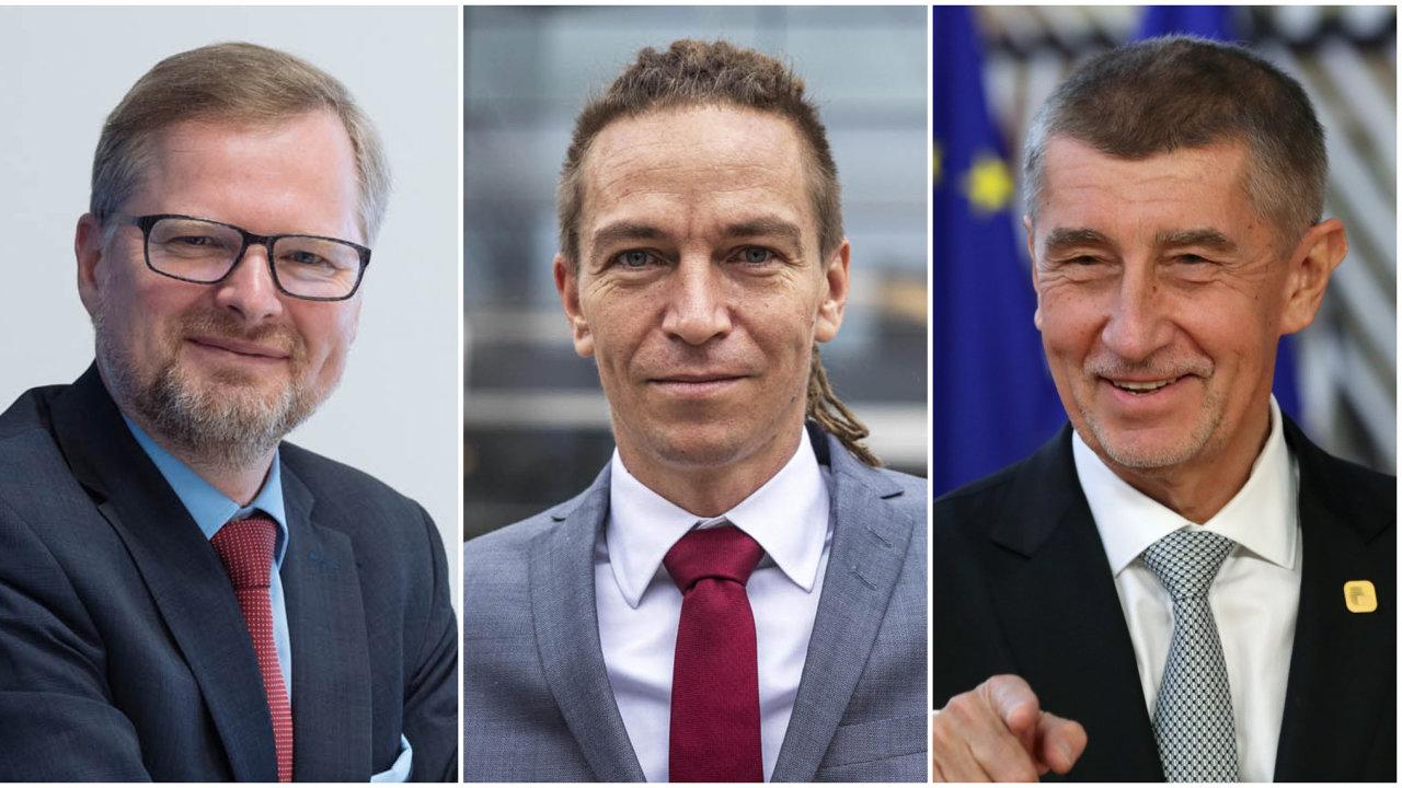 Bude pokračovat vláda Andreje Babiše (vpravo), který inklinuje k autoritářům typu Viktora Orbána? Nebo se Česko vydá cestou západní Evropy tak, jak chtějí Petr Fiala (vlevo) i Ivan Bartoš (uprostřed)?