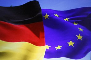 Německá vlajka a vlajka Evropské unie, ilustrační foto