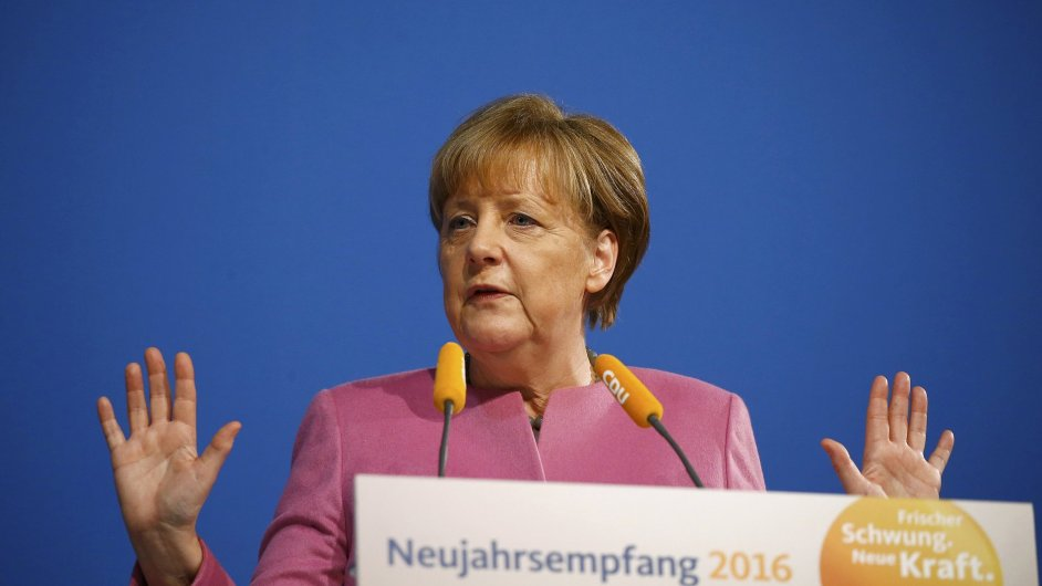 Německá kancléřka Angela Merkelová na recepci její strany CDU.