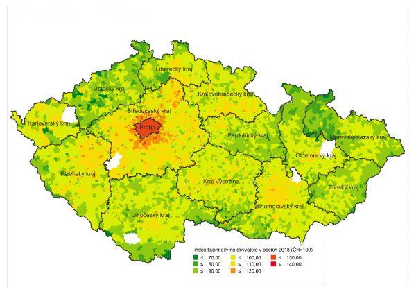 Regionální rozdělení kupní síly v ČR v obcích