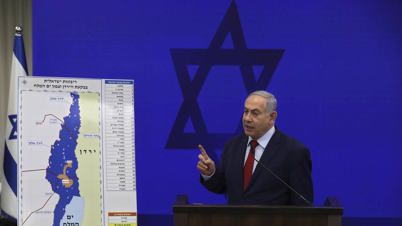 Benjamin Netanjahu hodlá kizraelskému území připojit strategicky významnou část okupovaného Západního břehu Jordánu.