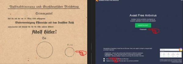 Porovnání německého volebního lístku z roku 1938 a instalační obrazovky Avast Antivirus