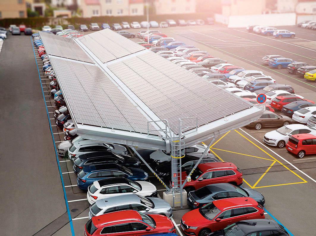 Nově zbudovaný solární Carport společnosti Škoda Auto