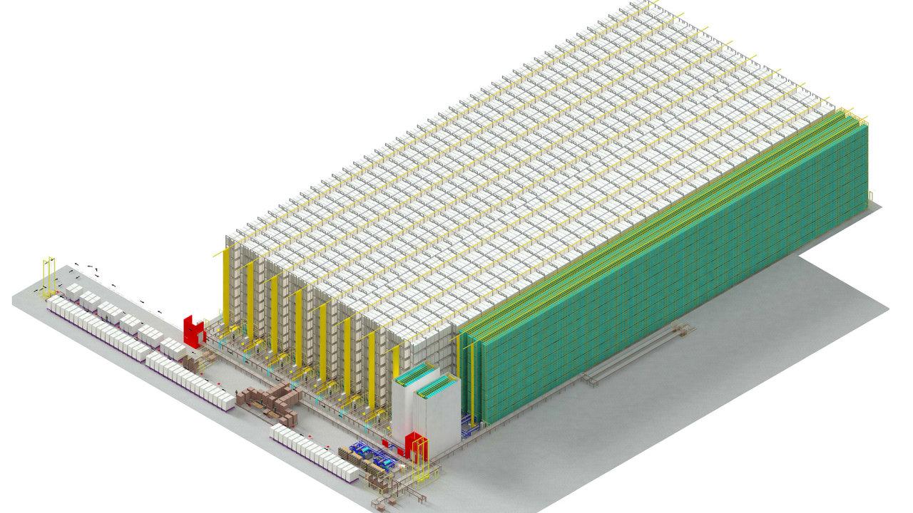 Celková výška rižského skladu dosáhne 24 metrů a palety budou ukládány na sebe v regálech do více než devíti pater, oznámil Jungheinrich (vizualizace).