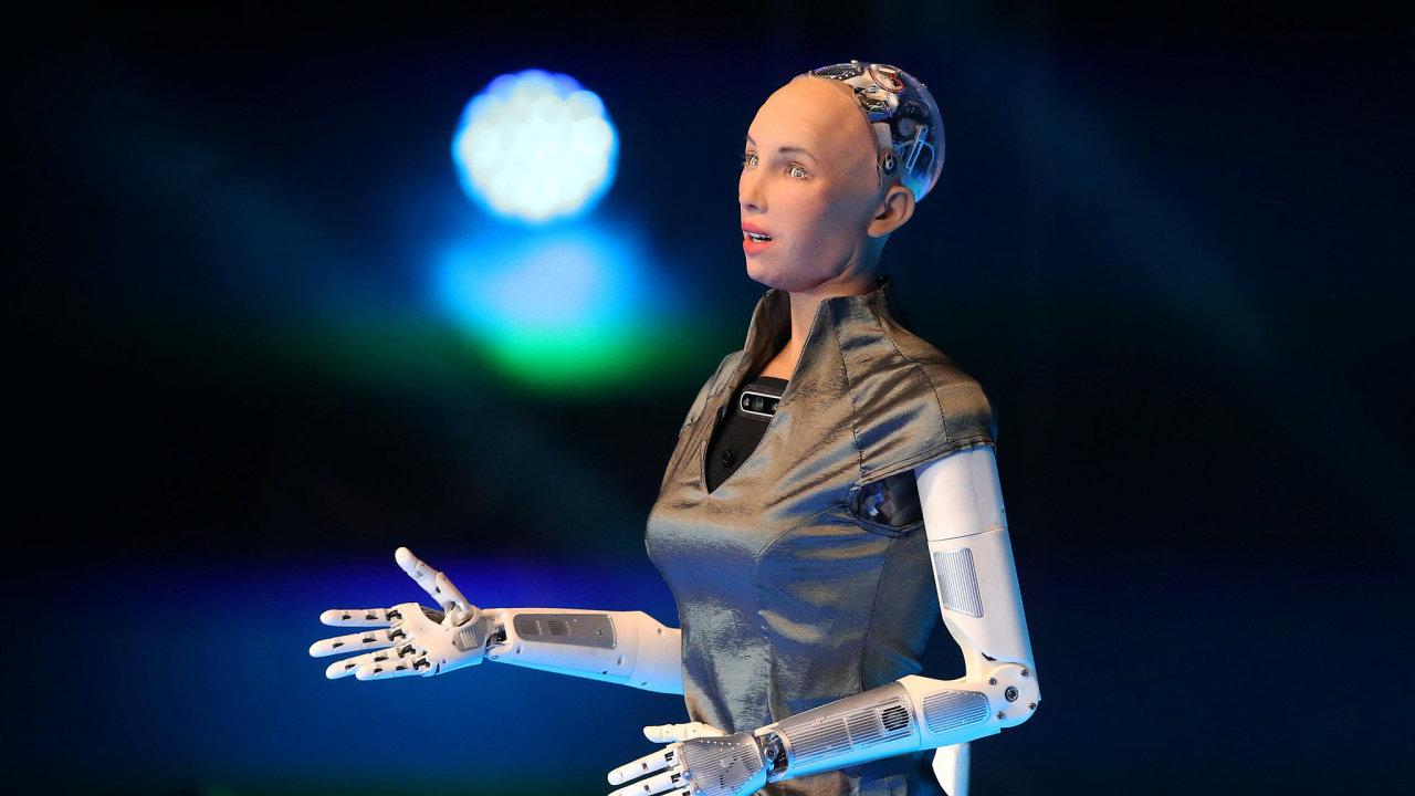 Robot Sophia během konference Telmex Foundation Mexico v roce 2019.
